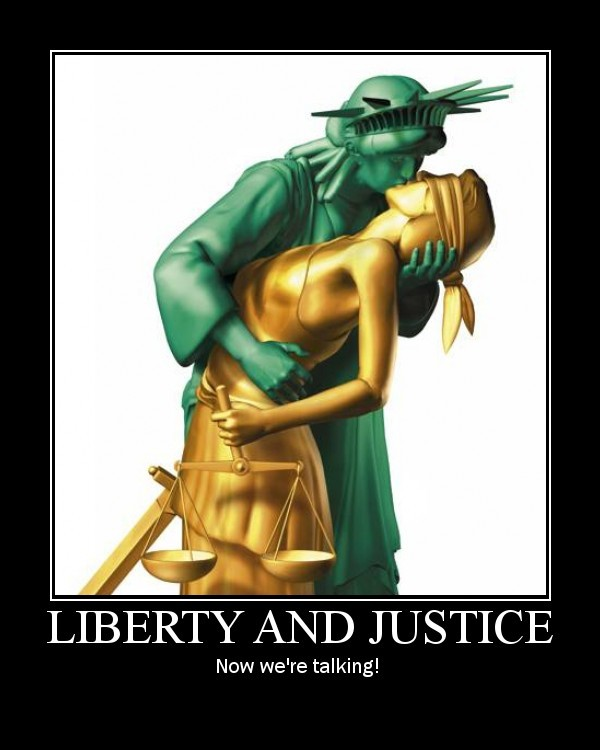 Lady Liberty and Lady Justice demonstrating their dependency on each other.